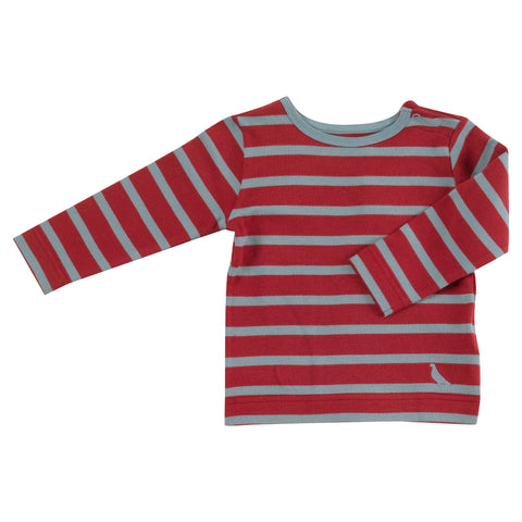 Pigeon Organics Long Sleeve Striped T-shirt - Red/Smoke Blue
