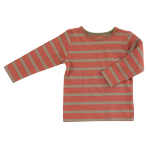 Pigeon Organics Long Sleeve Striped T-shirt - Rust/Olive