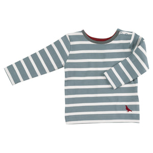 Pigeon Organics Long Sleeve Striped T-shirt - Smoke Blue/White