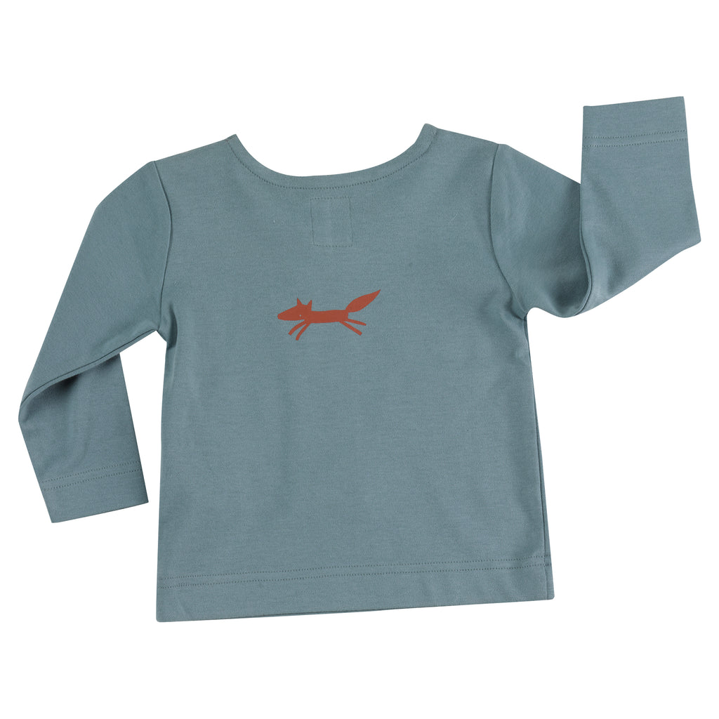 Pigeon Organics - Long Sleeve T-shirt - Fox on Blue