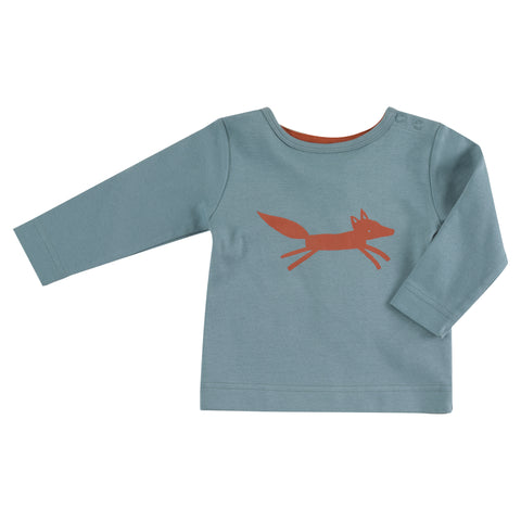 Image of Pigeon Organics Long Sleeve T-shirt - Fox on Blue