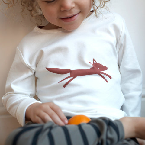 Pigeon Organics Long Sleeve T-shirt - Fox on White