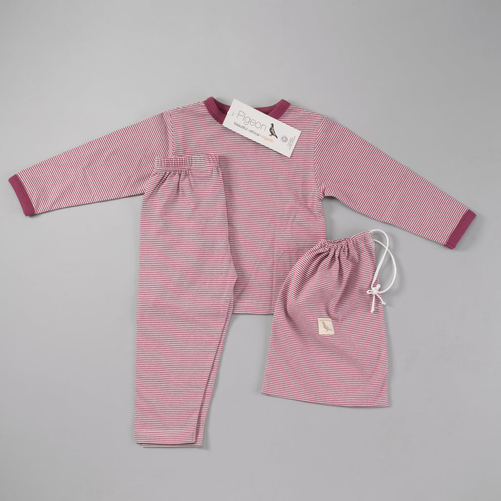 Pigeon Organics Pyjamas In A Bag - Fig Fine Stripe
