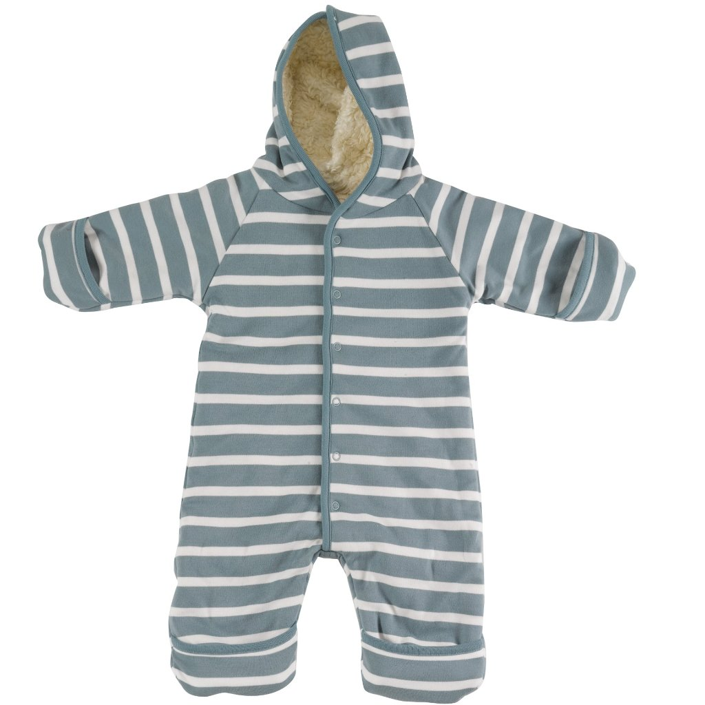 Pigeon Organics Snuggle Suit - Smoke Blue/White