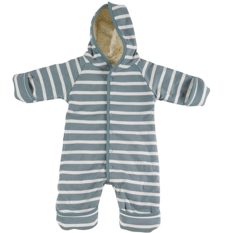Image of Pigeon Organics Snuggle Suit - Smoke Blue/White