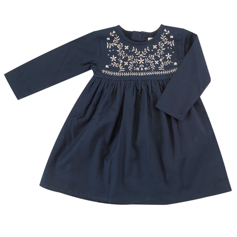 Pigeon Organics Embroidered Dress - Ink Blue