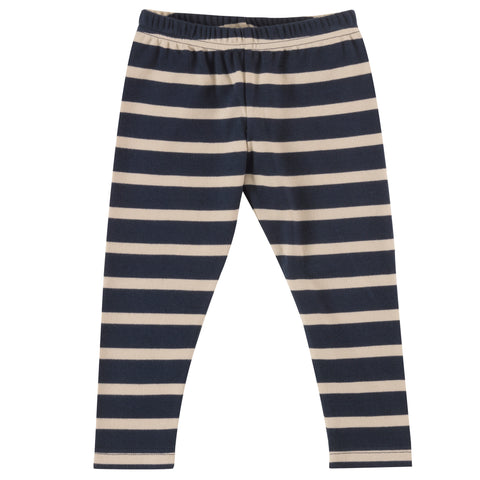 Pigeon Organics Stripe Leggings - Ink Blue/Pumice