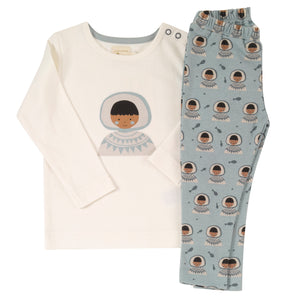 Pigeon Organics Pyjamas in a Bag - Blue Surf Inuit