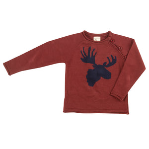 Pigeon Organics Raglan Moose Head Jumper - Ink Blue  on Spice