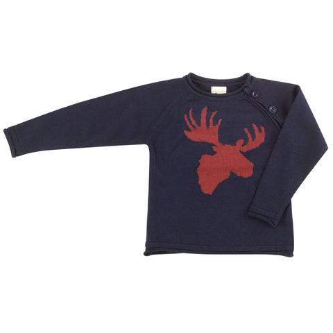 Pigeon Organics Raglan Moose Head Jumper - Spice on Ink Blue