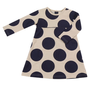 Pigeon Organics Skater Dress - Giant Spot Ink Blue/Pumice