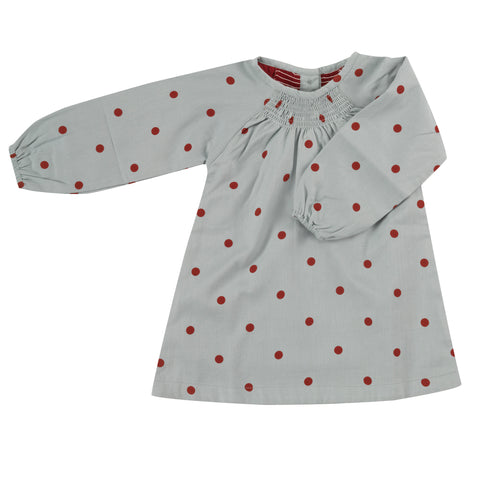 Pigeon Organics Smock Top - Small Spot Red/Blue Surf