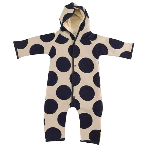 Image of Pigeon Organics Snuggle Suit - Giant Spot Ink Blue/Pumice