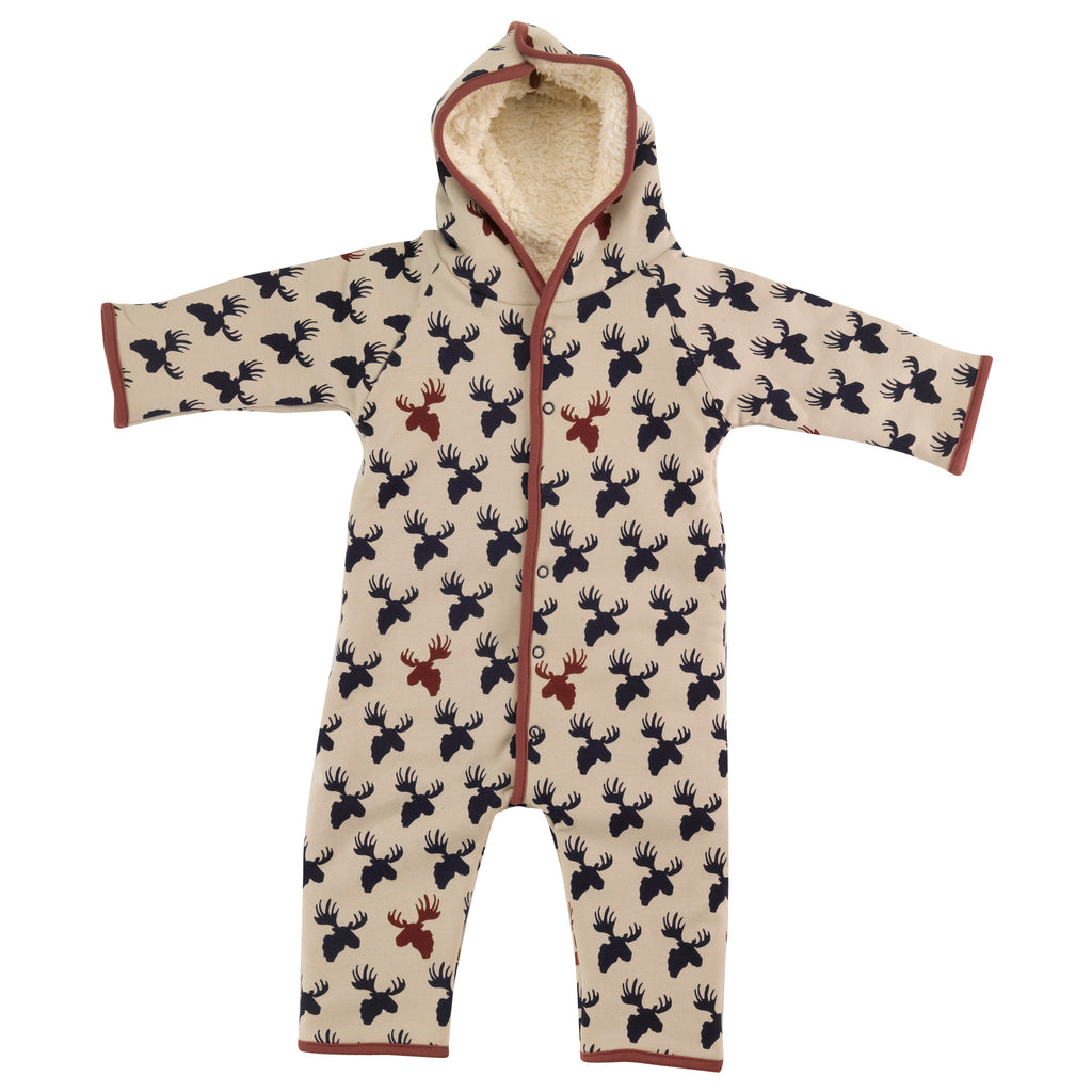 Pigeon Organics Snuggle Suit - Ink Blue/Pumice Moose Head