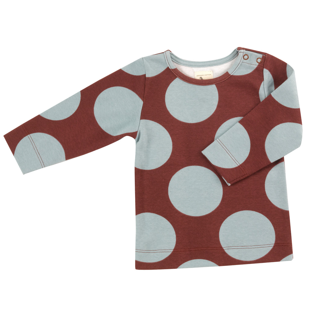 Pigeon Organics Long Sleeve Tee - Giant Spot Blue Surf/Spice
