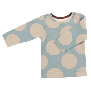 Pigeon Organics Long Sleeve Tee - Giant Spot Pumice/Blue Surf