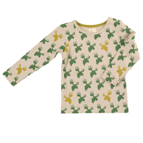 Pigeon Organics Long Sleeve Tee - Moose Head Green/Pumice