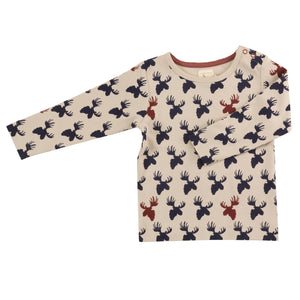 Pigeon Organics Long Sleeve Tee - Moose Head Ink Blue/Pumice