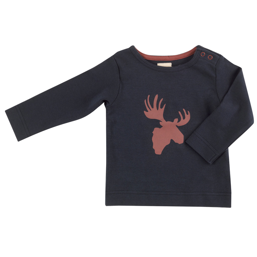 Pigeon Organics Long Sleeve Tee - Moose Head Spice/Ink Blue