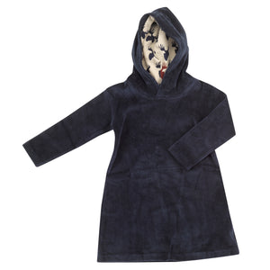 Pigeon Organics Velour Hood Dress - Ink blue