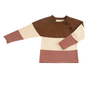 Pigeon Organics Raglan Jumper (Striped) - Brown