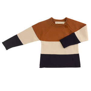 Pigeon Organics Raglan Jumper (Striped) - Rust/Stone/ Navy