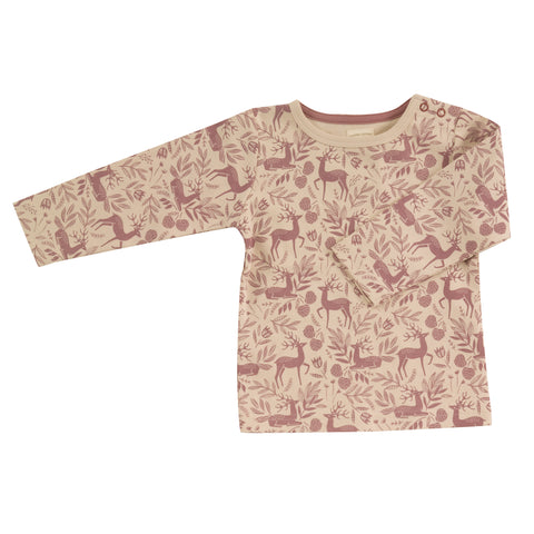 Pigeon Organics Long Sleeve T-Shirt (Aop) - Deer - Rose