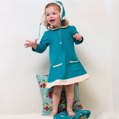 Peacock Tunic Cord Dress - Organic Fairtrade Cotton
