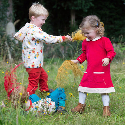 Image of Raspberry Tunic Cord Dress - Organic Fairtrade Cotton