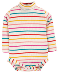 Frugi Poppy Roll Neck Body - Ginger Rainbow Breton,