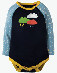Frugi Rowan Raglan Body - Navy/Rainclouds - Organic Cotton