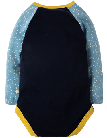 Image of Frugi Rowan Raglan Body - Navy/Rainclouds