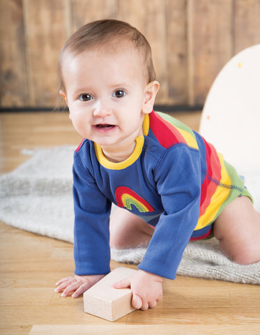 Image of Frugi Sunny Panelled Body - True Blue/Rainbow - Organic Cotton