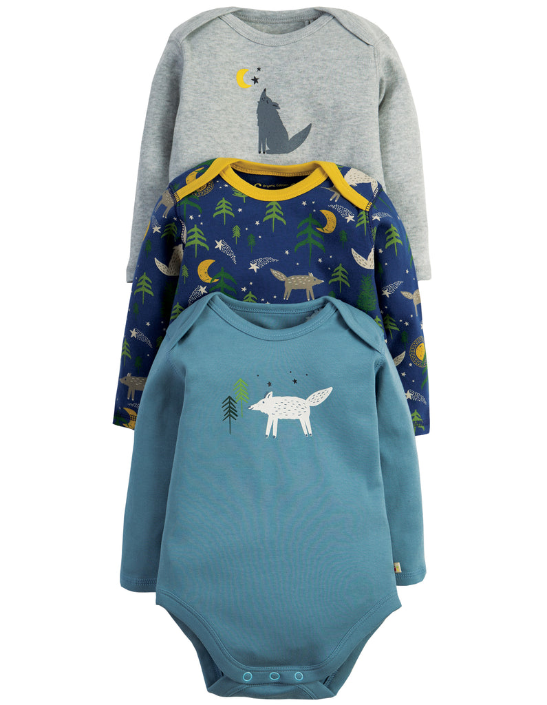 Frugi Special 3 Pack Body - Wolf - Organic Cotton