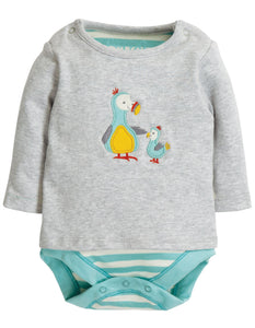 Frugi Poppet 2 in 1 Body - Grey Marl/Dodos