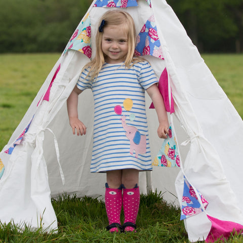 Image of Kite Elephant Dress- Organic Cotton