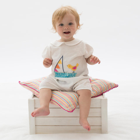Image of Kite Bunting boat romper - Organic Cotton