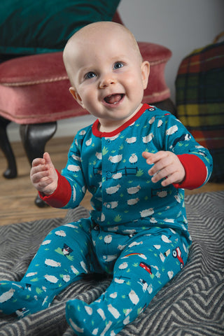 Frugi Lovely Babygrow - Sheepdogs