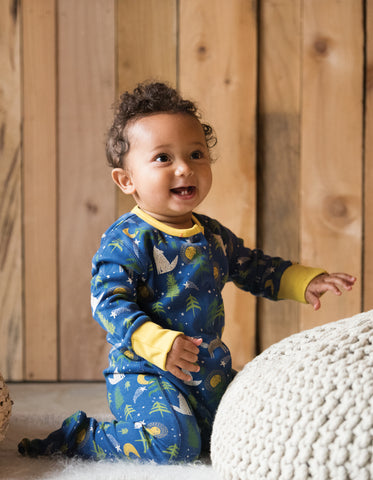 Image of Frugi Lovely Babygrow - Moonlit Night - Organic Cotton