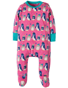 Frugi Zipped Babygrow - Flamingo Penguin Huddle - Tilly & Jasper