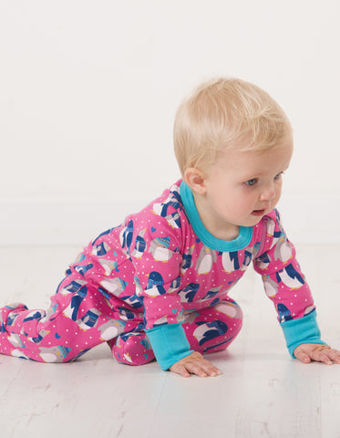 Image of Frugi Zipped Babygrow - Flamingo Penguin Huddle