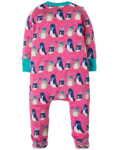 Frugi Zipped Babygrow - Flamingo Penguin Huddle