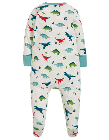 Image of Frugi Lovely Babygrow - Aqua Dino Field - Tilly & Jasper