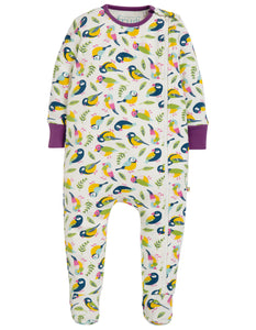 Frugi Zipped Babygrow - Soft White Tweet