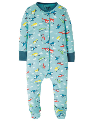 Image of Frugi Lovely Babygrow - Bright Sky Helicoptors