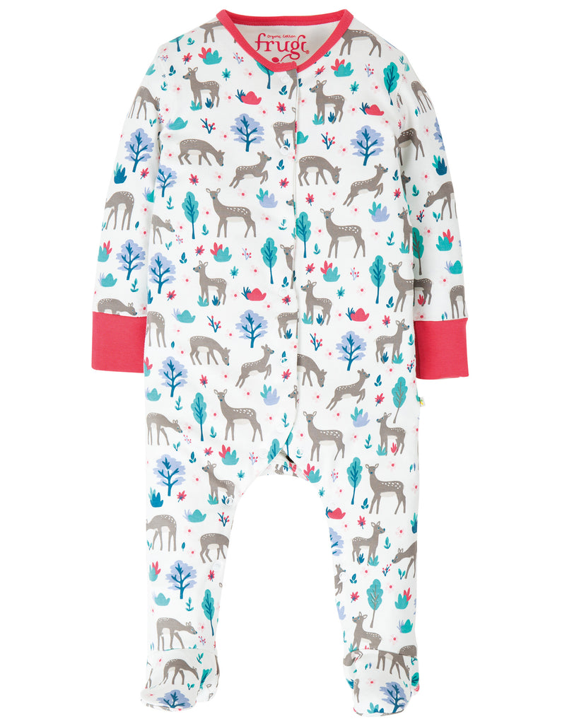 Frugi Lovely Babygrow - Watermelon Sika Deer Ditsy