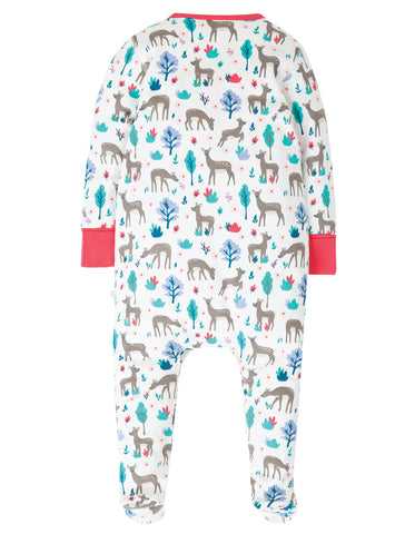 Image of Frugi Lovely Babygrow - Watermelon Sika Deer Ditsy