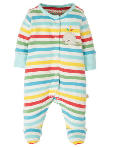 Image of Frugi Little Applique Babygrow - My First Frugi Multistripe