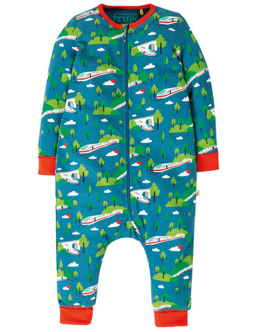 Image of Frugi Summer Zip Babygrow - Bullet Train