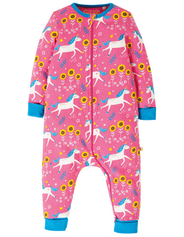 Image of Frugi Summer Zip Babygrow - Flamingo Unicorn Skates